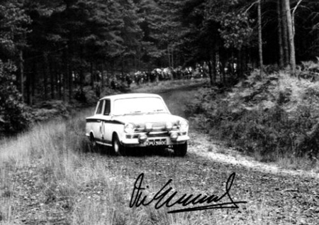 Speeding Through The Forest Lotus Cortina RAC Rally 1966 Autographed By Vic Elford