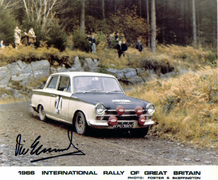 VIC ELFORD LOTUS CORTINA RAC Rally 1966 Autographed By Vic Elford VicElford Legends Of Motorsports Memorabilia