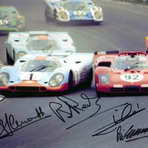 Watkins Glen 6 hours 1970 – signed by 1 to 4 drivers: Andretti, Elford, Ickx, Larrousse, Redman – 5×7″ to 11×14″