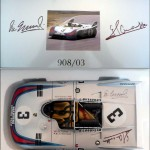 "AutoArt 1:18 ""Signature"" Diecast Model Martini Porsche 908/3 – Signed by either Vic Elford or by BOTH drivers Elford & Larrousse"