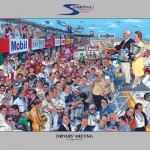 Sebring Driver's Meeting poster by Artist Roger Warrick. Poster signed by Vic Elford