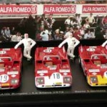 Alfa Romeo 33.3 TT AutoDelta team trio – Le Mans 24 hours 1972 – signed by Vic Elford. LAST ONE
