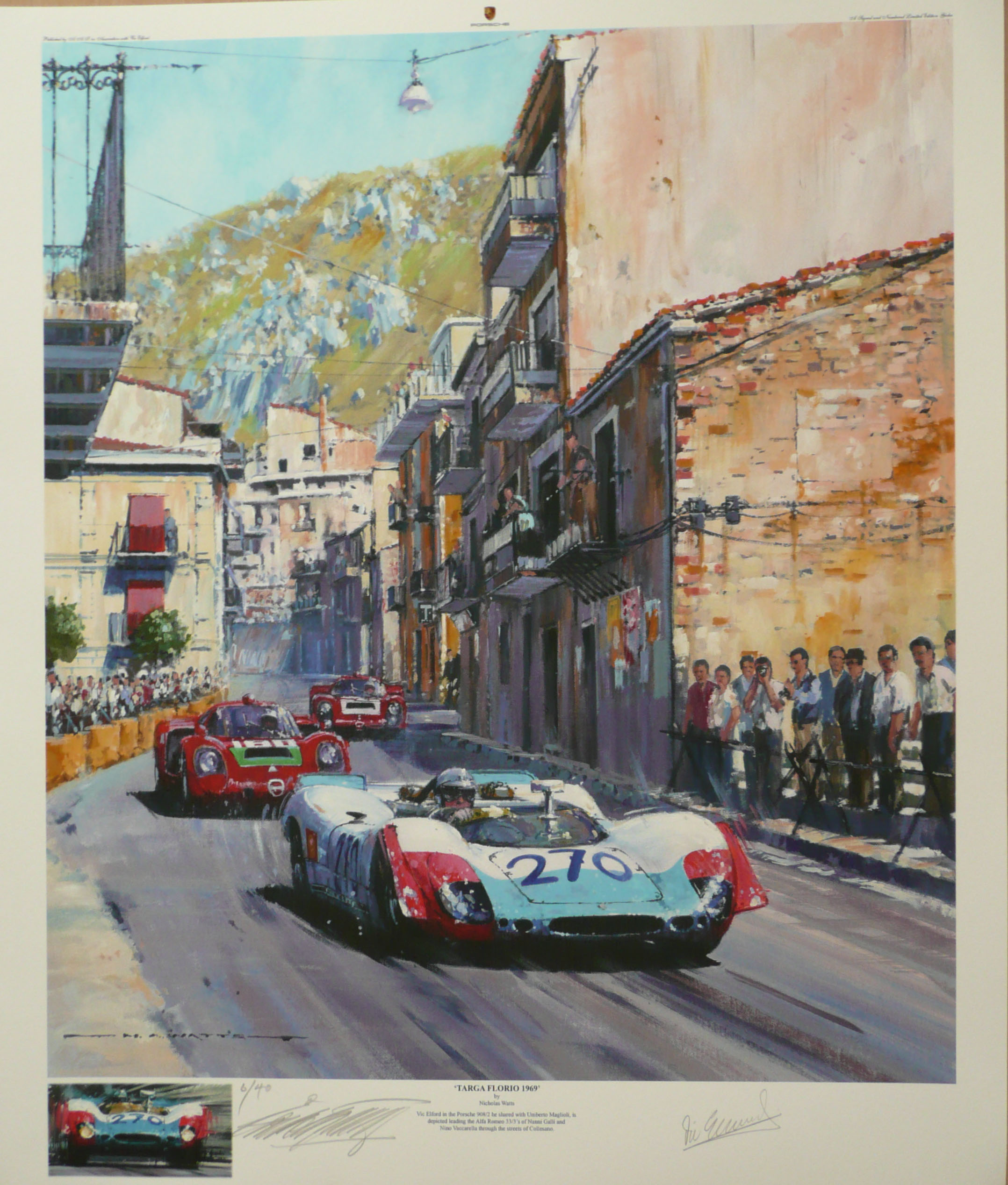 Targa Florio 1969 - Porsche 908/2 Nicholas Watts giclee signed by Artist &  Vic Elford - Cut signatures of Nino Vaccarella & Nanni Galli are available